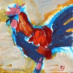 blue and orange cock impressionist fine art by @cristinajaco