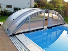 Pool enclosure AZURE can be fully folded Natural Swimming Pools, Swimming Pools Backyard, Swimming Pool Designs, Shipping Container Swimming Pool, Pool Canopy, Swimming Pool Enclosures, Swiming Pool, Pool Waterfall, Pool Maintenance