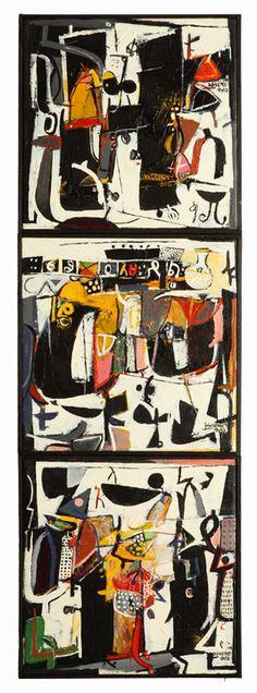 "Wosene Worke Kosrof - Coltrane In The Park, Acrylic on canvas, 42""x14"""