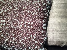 """20"""" decorative pillows.  Exquisite bead work on front and silk backing in cool tones."""