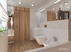 Łazienki w bieli, czerni i drewnie - daart Modern Bathroom, Small Bathroom, Bathrooms, Decoration, Bathtub, Boat House, Living Room, Interior Design, Bedroom