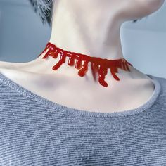 Blood dripping choker necklace sold by Dejavu Cat. Shop more products from…