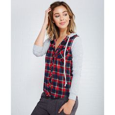 Plaid Fleece-Sleeve Hooded Knit Top ($20) ❤ liked on Polyvore featuring tops, hoodies, red, hooded long sleeve shirt, red shirt, red long sleeve shirt, lightweight hoodies and red button shirt