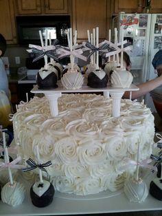 Bridal shower cake and bride & groom cake pops