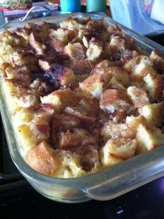 "OVERNIGHT FRENCH TOAST:   1 loaf french bread, cut into 1"" cubes (10 cups),  8 eggs,  3 C half & half (or cream if you want it silky rich),   1/4 C sugar,   1 tsp vanilla,  3/4 tsp salt,  12 strips of bacon (cooked & broken into pieces),    (Topping) 2 T butter cubed,  3 T sugar,  2 tsp ground cinnamon,  maple syrup"