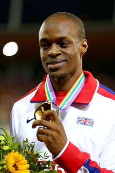 James Dasaolu with his gold medal after winning the 100 metres at the 22nd European Athletics Championships in Zurich.