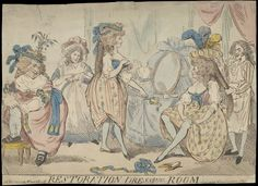 Hand coloured etching entitled 'Restoration Drawing Room' with Lady Archer, two other ladies and two dressers. Published in London by S. W. Fores.