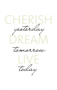 Cherish yesterday, dream tomorrow, live today (2)  Wall decal quote for my entry way.
