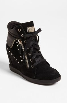 GUESS 'Hitzo' Sneaker from Nordstrom. Shop more products from Nordstrom on Wanelo. Wedge Sneakers, Wedge Heels, Sneaker Wedges, Platform Shoes, Women's Shoes, Trendy Shoes, Velcro Straps, Studs, Nordstrom
