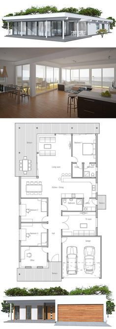 Contemporary home plan with simple lines and shapes, big windows. Three bedrooms. Floor Plan from ConceptHome.com