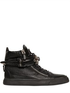 GIUSEPPE ZANOTTI HOMME - EMBOSSED LEATHER HIGH TOP SNEAKERS