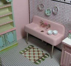 Miniature Dollhouse Furniture PINK Porcelain Farm Sink hand painted 1 in scale