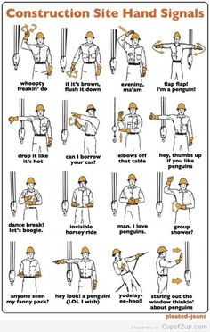Got some new guys and were just going over the heavy equipment hand signals. - Got some new guys and were just going over the heavy equipment hand signals. Stay sharp everyone. Construction Humor, Construction Business, Construction Design, Construction Worker, Construction Documents, Ingenieur Humor, Engineering Humor, Civil Engineering, Electrical Engineering