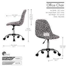 Ebern Designs Sardina Cheetah Task Chair | Wayfair Adjustable Office Chair, Swivel Office Chair, Desk And Chair Set, Desk Chair, Writing Desk With Drawers, Frozen Shoulder, Office Furniture Design, Chair Height, Thing 1