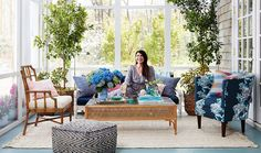Get a sneak peek inside our preppy, colorful Hamptons porch makeover for celebrity interior designer Estee Stanley!