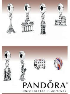 Pandora Travel Charms- Seeing these charms in a SkyMall magazine as we were flying to Europe is the trigger than got me started and hooked on collecting Pandora charms. I won't buy just any charm. Each one has to have a meaning for something in my life. I LOVE them. The Paris charm has hearts on each leg of the Eiffel Tower, The New York charm has a heart on the bottom of the Statue of Liberty and the London charm has hearts where the clocks would be on Big Ben.