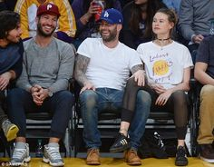 Date night: New parents Adam Levine and Behati Prinsloo enjoyed an evening out as just the two of them while attending an Los Angeles Lakers game