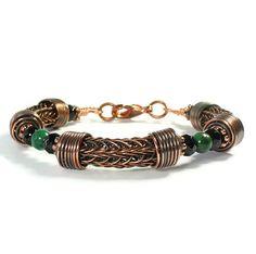 Viking Knit Bracelet Torque Jewelry Green by whitecloverstudios