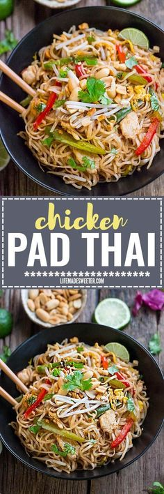 Easy and Authentic Chicken Pad Thai makes the perfect simple weeknight meal. Best of all, this recipe has gluten free & paleo-friendly options and can cook up in just one pot (pan) with make-ahead tips. Full of the authentic Thai flavors we all love! Way better than any restaurant takeout!