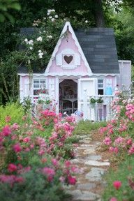 Pink roses & pink cottage