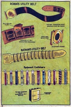 Old School Batman Utility Belts So cool! When I was, like, six years old, I had the comic book that this was in!