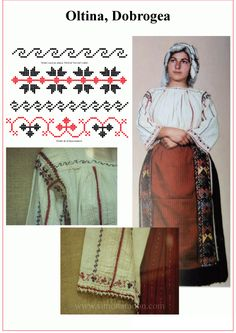 Costume popular Dobrogean din zona Oltina. Macheta descifrata de catre Simona Niculescu. Blouse Patterns, Sewing Patterns, Nail Tattoo, Romania, Handicraft, Traditional, Embroidery, How To Make, Handmade