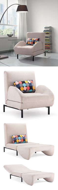Arm chair sleeper // folds out to become a twin mattress in seconds! Genius! #furniture_design