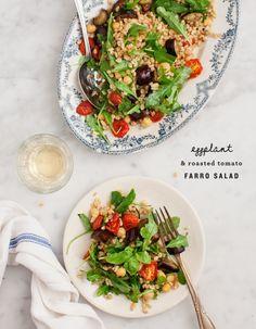 Eggplant & Roasted Tomato Farro Salad Recipe - Love and Lemons