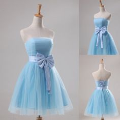 A-Line Strapless Tulle Light Blue Knee-length Bow PromBridesmaid Dress Cocktail dresses Eveing dress Prom Dresses For 2014 New Arrival on Etsy, $75.00