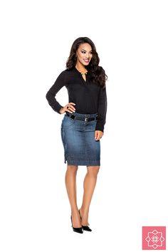 Saia Secretária Jeans Nítido Jeans #viaevangelica #nitidojeans #modaevangelica #modafeminina