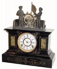 """.1894, Ansonia """"reloj mecánico"""", en general en buenas condiciones restaurado. Mike tenía un nuevo elenco rueda de las naves, como el de una hoja original de latón se había deteriorado. El nuevo se echa de plomo estañado y es un poco demasiado pesado para llevar a cabo correctamente"""