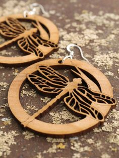 Dragonfly Earrings - Laser Cut Wooden Hoops - Sustainable Harvest Wisconsin Wood . Timber Green Woods. $15.95, via Etsy.
