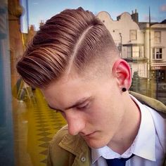 Cool side part pomp with hard part
