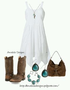 Strapless white dress, cowboy boots, turquoise c+i jewelry. Chambray button down, white purse.