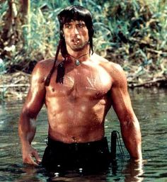 Sly in Rambo: First Blood Part II, 1984.