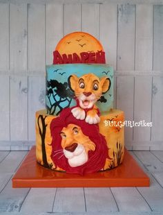 Circle of life… Lion King Party, Lion King Birthday, Lion Cakes, Lion King Cakes, Lion King Baby Shower, Jungle Cake, Le Roi Lion, Character Cakes, Disney Cakes