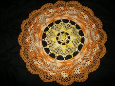 My funky sunshine doily. Its about 2 feet in diameter and made with quality crochet cotton. I can make any color that you would prefer. Crochet Crafts, Crochet Doilies, Table Runners, Decorative Plates, Sunshine, Etsy Seller, Retro, Unique Jewelry, Creative