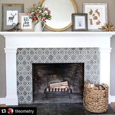 Image result for pics of tiled fireplaces