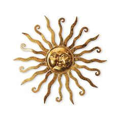 Shimmering Gold Metal Sun Wall Hanging With Etched Swirl Detail ($30) ❤ liked on Polyvore featuring home, home decor, decor, gold home accessories, gold home decor and metal home decor