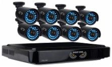 Night Owl - 16-Channel, 8-Camera Indoor/Outdoor DVR Security System - Black…