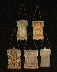 1920s WHITING & DAVIS DECO ENAMELED MESH PURSES