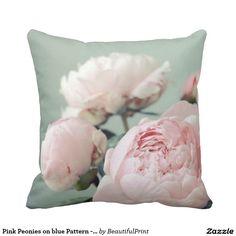 Pink Peonies on blue Pattern - 19277 Throw Pillows