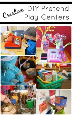 Engage kids in imaginative play with these fun creative pretend play centers. גורם לי לחשוב שאנחנו חייבים ליצור משחק מטוס או שדה תעופה...