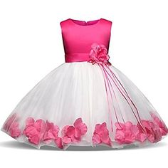 Kids Showtime Girls Tutu Flower Petals Bow Bridal Dress Special Occasion  Party Dress(Hot Pink6 25fe61315ff