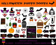 Hallooween Photo Booth Props–59 Pieces(48 props,10 Speech Bubbles,1 Photo Booth Sign)-Printable Halloween Photo Booth Props-Instant Download