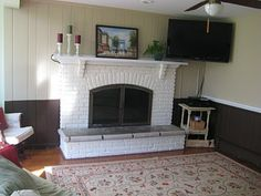 painted paneled walls and brick fireplaces | Painting a brick fireplace - thenest