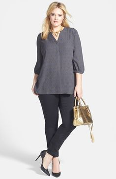 Sejour Split Neck Crepe Blouse & DKNY Jeans Sculpted Stretch Denim Leggings (Plus Size) available at #Nordstrom