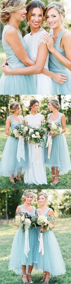 Tulle High-Low Bridesmaid Dress, Dress for Wedding, Square Neckline Bridesmaid Dress,#bridesmaiddress