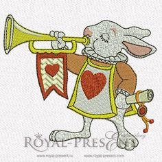 Machine Embroidery Design The White Rabbit royal trumpeter