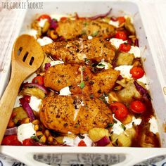Balsamic Glazed Mediterranean Chicken Bake, EASY, healthy and delicious! {The Cookie Rookie}